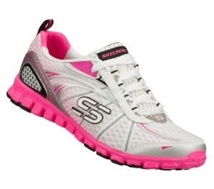 PinkWhite Skechers EZ Flex - Barbed Wire