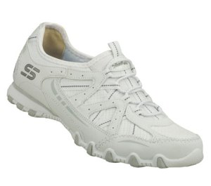 White Skechers Bikers - Conjure Up