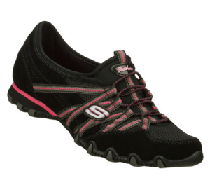PinkBlack Skechers Bikers - Quick Step