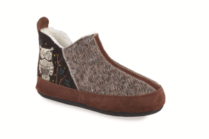 Chocolate Owl Acorn Forest Bootie
