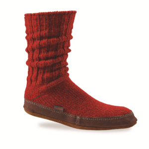 Crimson Ragg Wool Acorn Slipper Sock