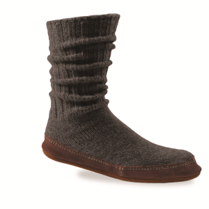 Charcoal Ragg Wool Acorn Slipper Sock