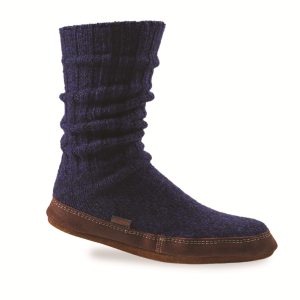 Cobalt Ragg Wool Acorn Slipper Sock