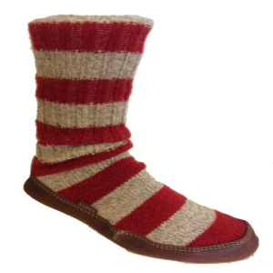 Red Stripe Ragg Wool Acorn Slipper Sock