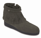 Minnetonka Sheepskin Side ZipFringe Boot Grey