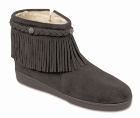 Minnetonka Pile Lined Side Zip Fringe Boot Grey