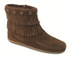 Minnetonka Double Fringe Side Zip Boot Dusty Brown