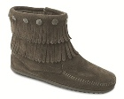Minnetonka Double Fringe Side Zip Boot Grey