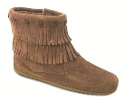 Minnetonka Double Fringe Side Zip Boot Taupe
