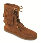 Minnetonka Double Fringe Tramper Boot Brown