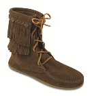 Minnetonka Double Fringe Tramper Boot Dusty Brown