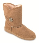 Minnetonka Side Button Classic Pug Boot Tan