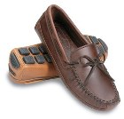 Minnetonka Double Bottom Cowhide Driving Moc Chestnut