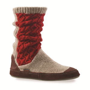 Red Cable Knit Acorn Slouch Boot