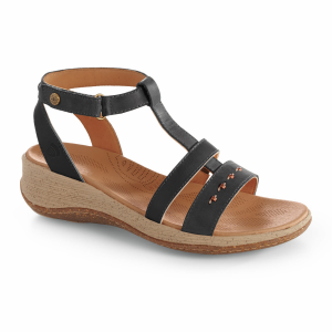 Black Acorn Vista Wedge T-Strap
