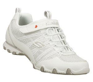 White Skechers Bikers - Star Brite