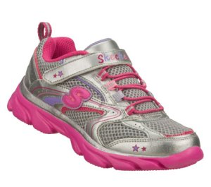 Neon-PinkSilver Skechers Lite Waves - Skybeam